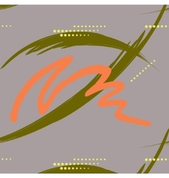 Abstract green and orange brush stroke with dashes vector image
