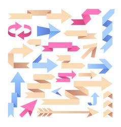 arrow ribbons origami paper arrows color vintage vector image vector image