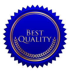blue seal gold laurels vector image vector image
