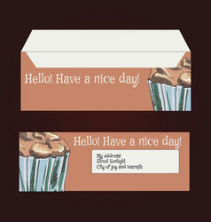 Envelopes for letters front and back drawing vector