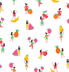 Girls with fruits pattern vector image vector image