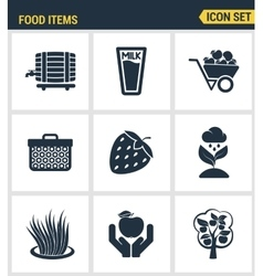 Icons set premium quality of food Items business vector image