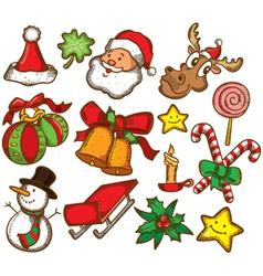 set of colorful christmas stuff vector image vector image