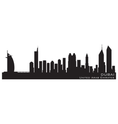 dubai emirates skyline detailed silhouette vector image