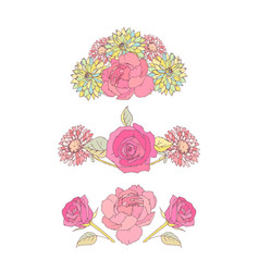 floral borders aster and roses flowes vector image