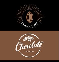 set of chocolate handwritten lettering logo vector image