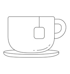 black and white tea coffee cup icon poster vector image vector image