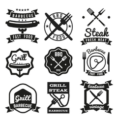 Fast food BBQ barbecue vintage emblems vector image vector image