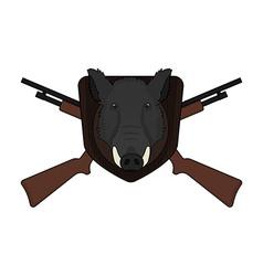 Hunting trophy Stuffed wild boar head vector image