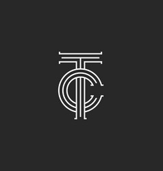 letters tc logo monogram overlapping thin lines vector image