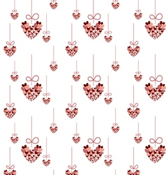 Seamless pattern red heart hanging vector image vector image