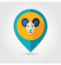 Sheep flat pin map icon animal head vector