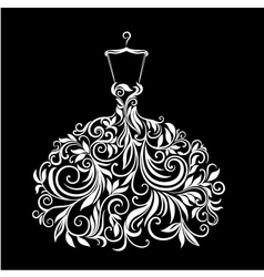 White dress with floral ornament vector image vector image