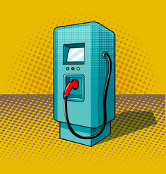 fueling for electric vehicles pop art style vector image