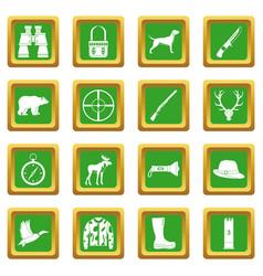 hunting icons set green vector image vector image