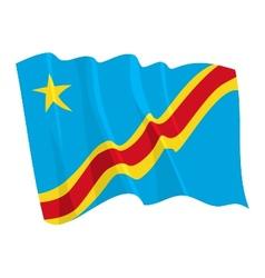 political waving flag of congo vector image vector image