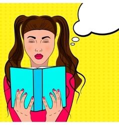 Por art woman reads a book vector image vector image