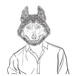 Sketch of head Husky Dog or wolf vector image