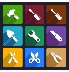 Working tools flat icon set 12 vector image vector image