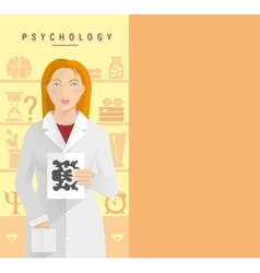 A young girl in a white coat psychologist vector