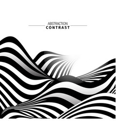 abstract black and white waves color background vector image