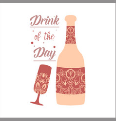 Auburn red bottle and glass with wine and alcohol vector