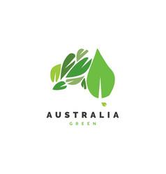 Australia map with leaf logo design vector