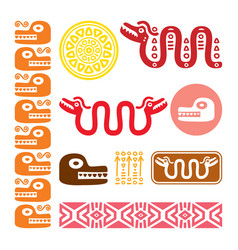 Aztec animals mayan snake ancient mexican design vector