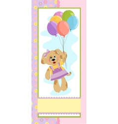 Babys banner with dog in pink colors vector image