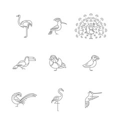 birds set icon vector image