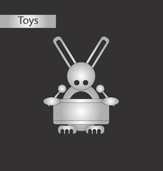 Black and white style toy rabbit drummer vector