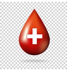 Blood drop with cross icon vector