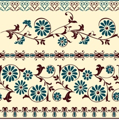 Blue brown motiv decorative floral elements vector