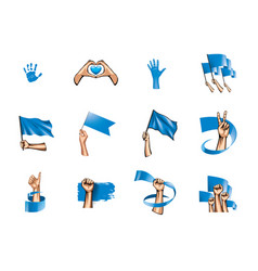 blue flag and hand on white background vector image