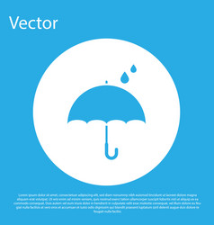 Blue umbrella and rain drops icon isolated on blue vector