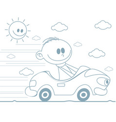 boy in a car vector image