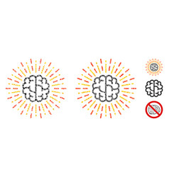 Brain radiance mosaic icon rugged elements vector