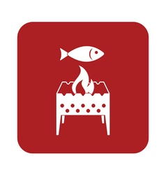 Brazier grill with fish icon vector
