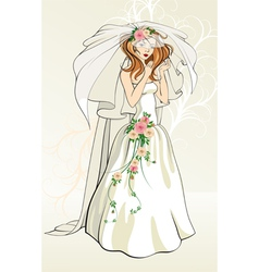 Bride with roses vector