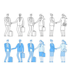 business people characters business handshake vector image