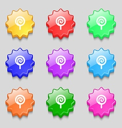 Candy icon sign symbol on nine wavy colourful vector