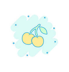cartoon cherry berry icon in comic style sweet vector image