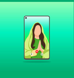 celebrating lebaran or ied fitr with video call vector image