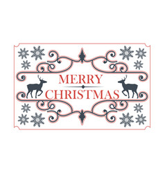 christmas decorative frame with deer vector image