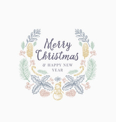 christmas greetings hand drawn sketch wreath vector image