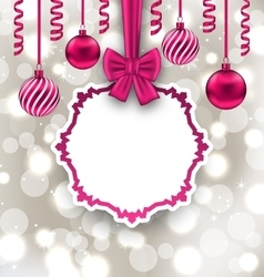 Christmas Paper Card with Bow Ribbon and Balls vector