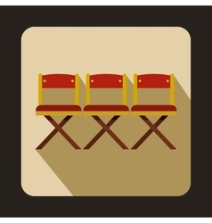 Cinema chairs icon in flat style vector