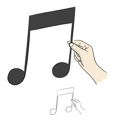 Close-up hand holding music note vector