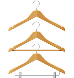 Clothes wooden hangers vector