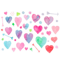 collection watercolor hearts for valentines day vector image